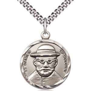 Sterling Silver St Damien of Molokai Pendant